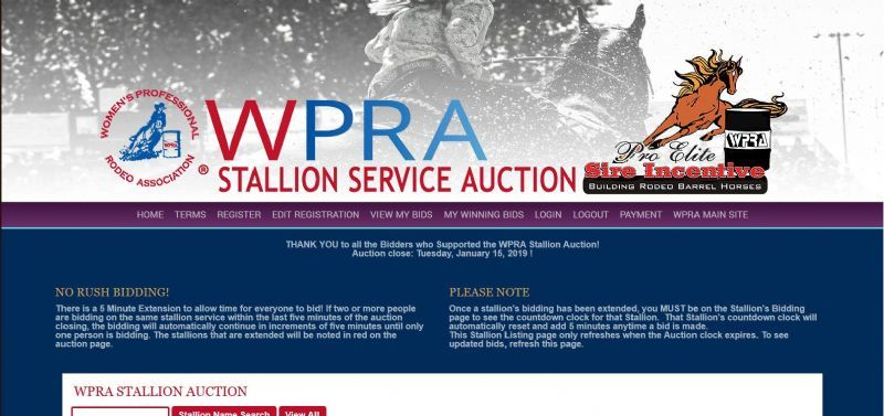 WPRA Stallion Service Auction